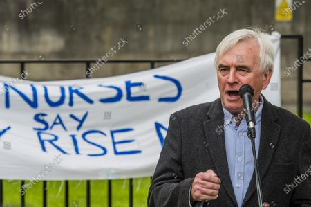 John McDonnell speaks - The march heads down Whitehall for speeches - NHS 73rd Birthday - Protest for NHS pay justice, Patient Safety and an End to Privatisation. The march started at UCH (University College London Hospitals NHS Foundation Trust) and finished in Parliament Square.