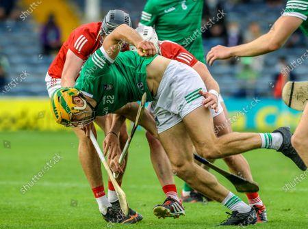 Limerick vs Cork. Limerick's Dan Morrissey under pressure