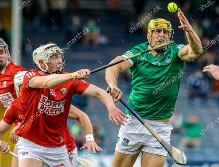 Stock Photo of Limerick vs Cork. Limerick's Dan Morrissey and Shane Barrett of Cork