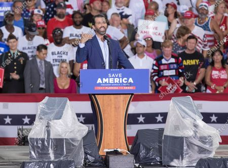 Donald Trump Jr. speaks to the crowd before his father, former US President Donald J. Trump arrives to a rally at the Sarasota County Fairgrounds in Sarasota, Florida, USA, 03 July 2021. Former US President Donald J. Trump has taken to the road to campaign against 10 House Republicans who voted to impeach Trump following the 06 January 2021 Capitol riot.