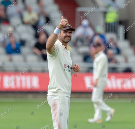 Thumbs up from James Anderson after his 1000th wicket