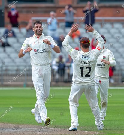 James Anderson after his 5th wicket of the innings, the 1000th of his First Class career in the game between Lancashire and Kent at Emirates Old Trafford