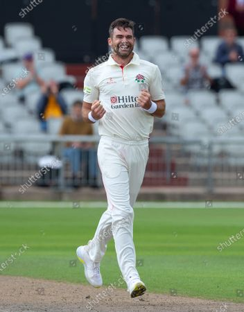 James Anderson all smiles after his 1000th First Class wicket during the game between Lancashire and Kent at Emirates Old Trafford