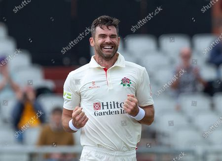 Stock Image of Joy for James Anderson after his 1000th first class wicket
