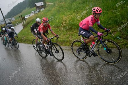 Stock Photo of Colombia's Sergio Andres Higuita, Colombia's Nairo Quintana, Australia's Ben O'Connor, Michael Woods of Canada and Australia's Lucas Hamilton, from front right to rear, climb Col du Pre pass during the ninth stage of the Tour de France cycling race over 144.9 kilometers (90 miles) with start in Cluses and finish in Tignes, France