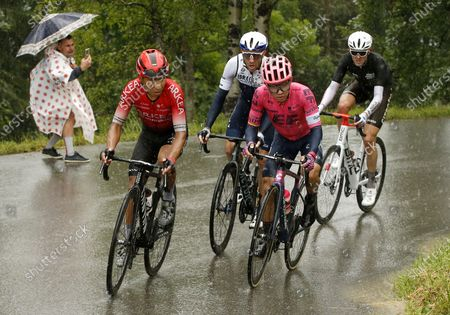 (L-R) Colombian rider Nairo Quintana of the Team Arkea-Samsic, Canadian rider Michael Woods of the Israel Start-Up Nation team, Colombian rider Sergio Andres Higuita of the EF Education-Nippo team and Australian rider Ben O'Connor of the AG2R Citroen Team in action during the 9th stage of the Tour de France 2021 over 144.9 km from Cluses to Tignes, France, 04 July 2021.