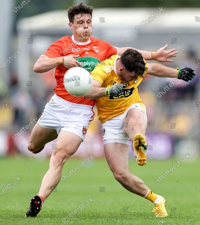 Armagh vs Antrim. Antrim's Niall Delargy and James Morgan of Armagh