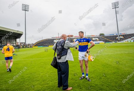 Tipperary vs Clare. RTÉ Radio broadcaster Michael McNamara speaks to Seamus Callanan of Tipperary after the game