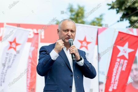 """Former president of Moldova Igor Dodon delivers a speech after a march with the slogan """"We love Moldova"""" in downtown Chisinau, Moldova, 04 July 2021. Protesters accuse the presidential institution of  betraying national interests."""