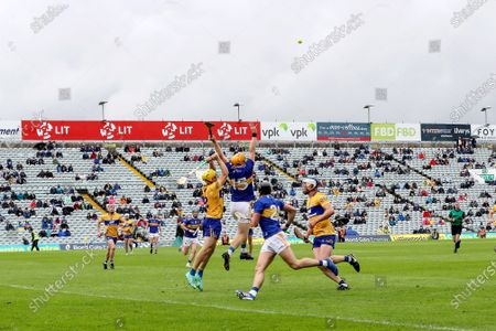 Tipperary vs Clare. Clare's Rory Hayes and Jake Morris of Tipperary