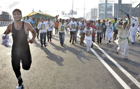The Farmers United Front organized a Kisan Mazdoor Marathon in memory of Milkha Singh at Ghazipur border led by Bharatiya Kisan Union (BKU) leader Rakesh Tikait, on June 4, 2021 in Ghaziabad, India.