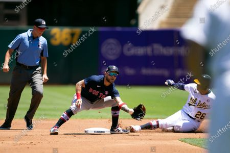 Oakland Athletics' Matt Chapman (26) slides safely into second base with a double ahead of the relay to Boston Red Sox second baseman Michael Chavis, center, during the first inning of a baseball game, in Oakland, Calif. Umpire is Stu Scheurwater, left, looks on