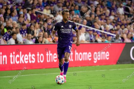 Nani (17 Orlando City) looks to cross the ball during the Major League Soccer game between Orlando City and New York Red Bulls at Exploria Stadium in Orlando, Florida.