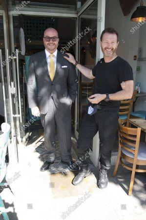 Stock Picture of Jonathan Sothcott, Nick Moran, on set of Renegades in Upper Street Islington