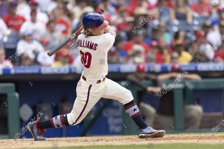 Philadelphia Phillies' Luke Williams (30) in action during a baseball game against the San Diego Padres, in Philadelphia