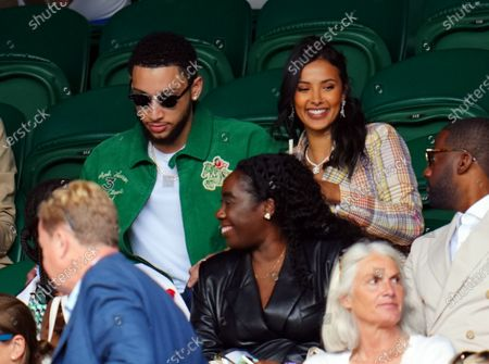 Stock Image of Maya Jama and Ben Simmons in the crowd on Centre Court