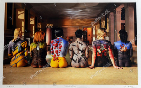 Make Up Artist Alison Roper Who Won 1st Place In The World Bodypainting Awards In The Special Effects Category In Austria. Pictured In Front Of A Photograph ' Stormback Catalogue' In Which She Body-painted The Six Women In Seven Hours For The Final Shot. From Left To Right - Black Sabbath (technical Ecstasy) The Mars Volta (the Widow) The Cranberries (wake Up And Smell The Coffee) Muse (absolution) 10cc (deceptive Bends) And Audioslave (audioslave) Photograph By By Storm Thorgerson 04.08.09.