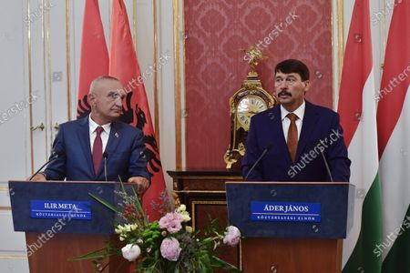 Hungarian President Janos Ader (R) and Albanian President Ilir Meta (L) hold a press conference after their meeting in the presidential Alexander Palace in Budapest, Hungary, 05 July 2021. Meta is on an official visit to Hungary.