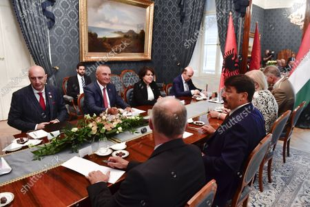 Hungarian President Janos Ader (3R) and Albanian President Ilir Meta (2L) start plenary talks during their meeting in the presidential Alexander Palace in Budapest, Hungary, 05 July 2021. Meta is on an official visit to Hungary.