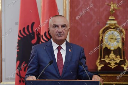 Albanian President Ilir Meta holds a press conference after a meeting with Hungarian President Janos Ader in the presidential Alexander Palace in Budapest, Hungary, 05 July 2021. Meta is on an official visit to Hungary.