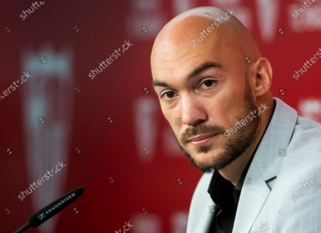 Serbian goalkeeper Marko Dmitrovic during his presentation as new player of Sevilla FC in Seville, Andalusia, Spain, 05 July 2021. Dmitrovic, who comes from UD Eibar, has signed until 2025.