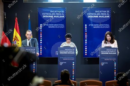 Foreign Ministers of Sweden, Ann Linde (R); Spain, Arancha Gonzalez Laya (C), and Germany, Heiko Maas (L), attend a press conference after the Stockholm Initiative for Nuclear Disarmament ministerial meeting held at Viana Palace in Madrid, Spain, 05 July 2021.