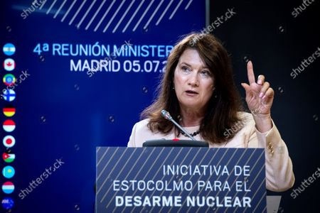 Swedish Foreign Minister, Ann Linde, attends a press conference after the Stockholm Initiative for Nuclear Disarmament ministerial meeting held at Viana Palace in Madrid, Spain, 05 July 2021.