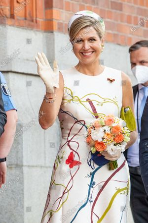 Queen Maxima of the Netherlands during the meeting with Mayor of Berlin Michael Muller at Rotes Rathaus in Berlin, on the first of the 3 day state visit of the Dutch Royals to Germany.