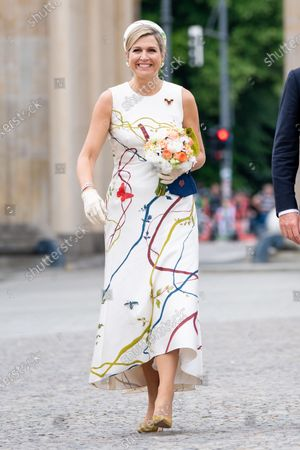 Queen Maxima of the Netherlands visits Brandenburger Tor with Mayor of Berlin Michael Muller, on the first of the 3 day state visit of the Dutch Royals to Germany.
