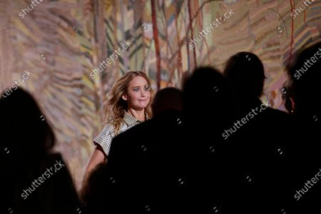 US actress Jennifer Lawrence attends the presentation of the Fall/Winter 2021/2022 Haute Couture collection by Italian designer Maria Grazia Chiuri for Dior fashion house during the Paris Fashion Week in Paris, France, 05 July 2021. The presentation of the Haute Couture collections runs from 05 to 08 July.