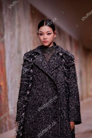 A model presents a creation from the Fall/Winter 2021/2022 Haute Couture collection by Italian designer Maria Grazia Chiuri for Dior fashion house during the Paris Fashion Week in Paris, France, 05 July 2021. The presentation of the Haute Couture collections runs from 05 to 08 July.