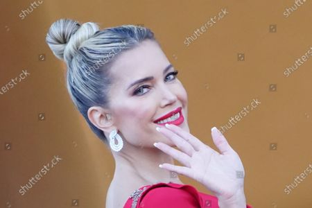 Dutch television personality and model Sylvie Meis arrives at Bellevue Palace on the occasion of a state banquet in honor of the Dutch King and Queen in Berlin, Germany, 05 July 2021. The Dutch royal couple is on a three-day visit to Berlin.