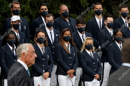 Portuguese President Marcelo Rebelo de Sousa (front left) speaks during a meeting with the country's Olympic athletes ahead of the Tokyo 2020 Summer Olympic Games in Lisbon, Portugal on July 5, 2021.