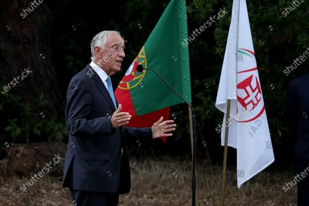 Portuguese President Marcelo Rebelo de Sousa speaks during a meeting with the country's Olympic athletes ahead of the Tokyo 2020 Summer Olympic Games in Lisbon, Portugal on July 5, 2021.