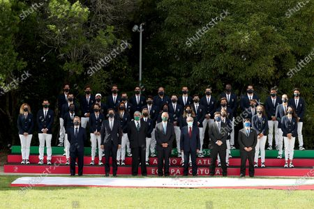 Portuguese President Marcelo Rebelo de Sousa (front row center) poses for a group photo with the country's Olympic athletes ahead of the Tokyo 2020 Summer Olympic Games in Lisbon, Portugal on July 5, 2021.