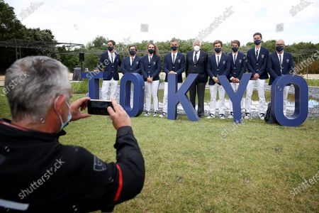 Stock Photo of Portuguese Olympic athletes and team staff members pose for a group photo after their meeting with Portuguese President Marcelo Rebelo de Sousa ahead of the Tokyo 2020 Summer Olympic Games in Lisbon, Portugal on July 5, 2021.