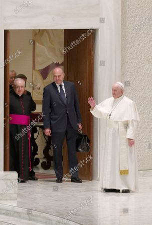 Pope Francis arrives for his weekly general audience in the Pope Paul VI hall at the Vatican, Wednesday, Oct. 14, 2020.