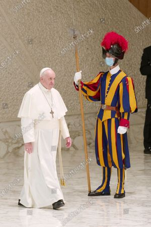 Stock Photo of Pope Francis arrives for his weekly general audience in the Pope Paul VI hall at the Vatican, Wednesday, Oct. 14, 2020.