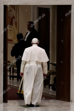 Stock Picture of Pope Francis leaves at the end of his weekly general audience in the Pope Paul VI hall at the Vatican, Wednesday, Oct. 14, 2020.