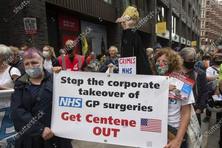 Demonstration outside the Department of Health on the 73rd Birthday of the NHS. The takeover of GP practices in London by US health insurance giant Centene Corporation could be the subject of a judicial review, Unite the union has said.Campaigners, including members of Doctors in Unite (DiU), have ÔcrowdfundedÕ about £40,000 towards a possible judicial review regarding the recent takeover by CenteneÕs UK subsidiary Operose of the privately-owned AT Medics set up in 2004 by six NHS GPs and which runs 37 GP practices across London.The campaigners are waiting to hear if all the legal hurdles have been crossed and the case can proceed on the basis of the lack of transparency.