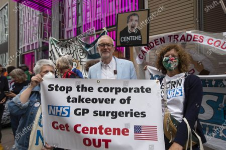 Jeremy Corbyn at the Demo.Demonstration outside the Department of Health on the 73rd Birthday of the NHS. The takeover of GP practices in London by US health insurance giant Centene Corporation could be the subject of a judicial review, Unite the union has said.Campaigners, including members of Doctors in Unite (DiU), have ÔcrowdfundedÕ about £40,000 towards a possible judicial review regarding the recent takeover by CenteneÕs UK subsidiary Operose of the privately-owned AT Medics set up in 2004 by six NHS GPs and which runs 37 GP practices across London.The campaigners are waiting to hear if all the legal hurdles have been crossed and the case can proceed on the basis of the lack of transparency.