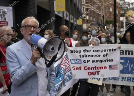 Jeremy Corbyn speaks.Demonstration outside the Department of Health on the 73rd Birthday of the NHS. The takeover of GP practices in London by US health insurance giant Centene Corporation could be the subject of a judicial review, Unite the union has said.Campaigners, including members of Doctors in Unite (DiU), have ÔcrowdfundedÕ about £40,000 towards a possible judicial review regarding the recent takeover by CenteneÕs UK subsidiary Operose of the privately-owned AT Medics set up in 2004 by six NHS GPs and which runs 37 GP practices across London.The campaigners are waiting to hear if all the legal hurdles have been crossed and the case can proceed on the basis of the lack of transparency.