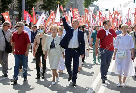 I love Moldova campaign organized by the electoral bloc of communists and socialists, on the square outside the Academy of Sciences of Moldova. Chairman of the Party of Socialists of Moldova Igor Dodon (center) during the campaign.