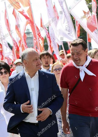 I love Moldova campaign organized by the electoral bloc of communists and socialists, on the square outside of the Academy of Sciences of Moldova. Chairman of the Party of Socialists of Moldova Igor Dodon (left) during a campaign.
