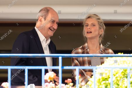 Pierre Lescure and Melanie Laurent await the jury dinner ahead of the 74th annual Cannes Film Festival at the Hotel Martinez