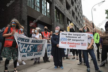 Participants seen holding banners expressing their opinion during the demonstration.A group of NHS supporters gathered outside the Department of Health and Social Care at the 73rd Anniversary of the NHS to protest against the government's strategies on trying to privatize the healthcare service in the UK. Jeremy Corbyn was in appearance to show support to the NHS service.