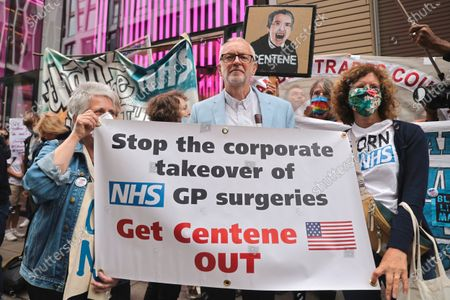 Jeremy Corbyn attends and shows support to the NHS workers by making speeches during the demonstration.A group of NHS supporters gathered outside the Department of Health and Social Care at the 73rd Anniversary of the NHS to protest against the government's strategies on trying to privatize the healthcare service in the UK. Jeremy Corbyn was in appearance to show support to the NHS service.