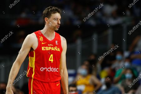 Pau Gasol of Spain gestures during the Tokyo 2020 Challenge preparatory basketball match played between Spain and Iran at Wizink Center on July 05, 2021 in Madrid, Spain.