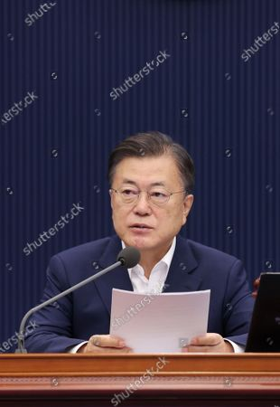 President Moon Jae-in speaks during a Cabinet meeting at the presidential office Cheong Wa Dae in Seoul, South Korea, 06 July 2021.