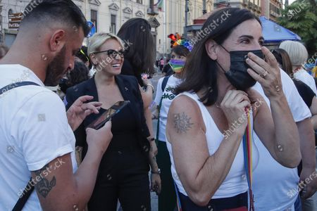 Naples gay pride 2021 held in piazza Dante, with the presence of Francesca Pascale, Paola Turci and Vladimir Luxuria.